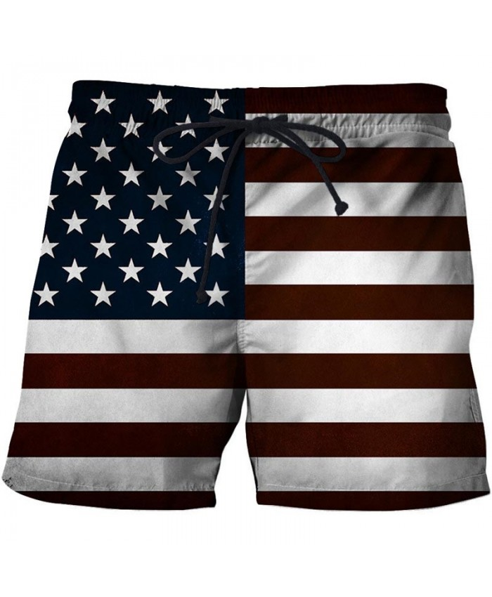 Pentagram Men 3D Print Beach Shorts Summer Male Quick Dry Breathable Watersport USA Flag Casual Summer Board Shorts