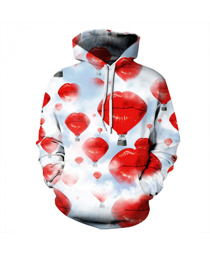 Personality Sexy Red Lips Hot Air Balloon Printing Fashion Sweatshirt Hoodies Pullover