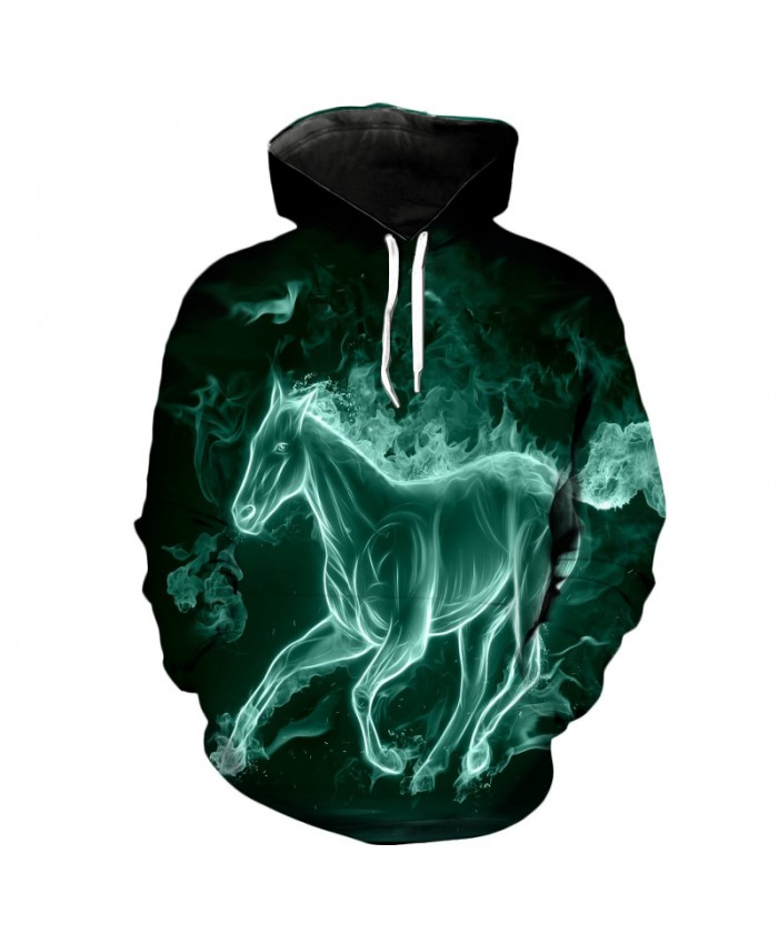 Personalized Green Smoke Horse Fashion Men's Hooded Sweatshirt Casual Hoodie Autumn Tracksuit Pullover Hooded Sweatshirt