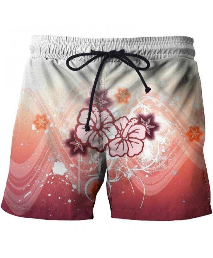 Pink Flower Men Beach Shorts 3D Print Men Shorts Casual Cool Summer Men Elastic Waist Male Fitness Shorts Drop Ship