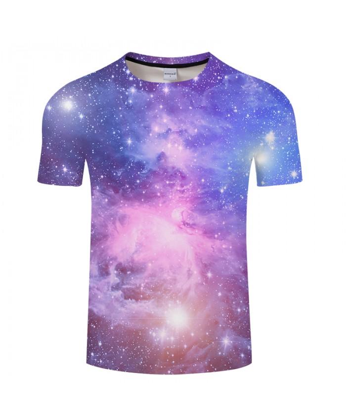 Pink and Purple Shining Galaxy Unisex T shirt 3D Digital Print tshirt 2018 Summer Short Sleeve Tees Tops Drop Ship