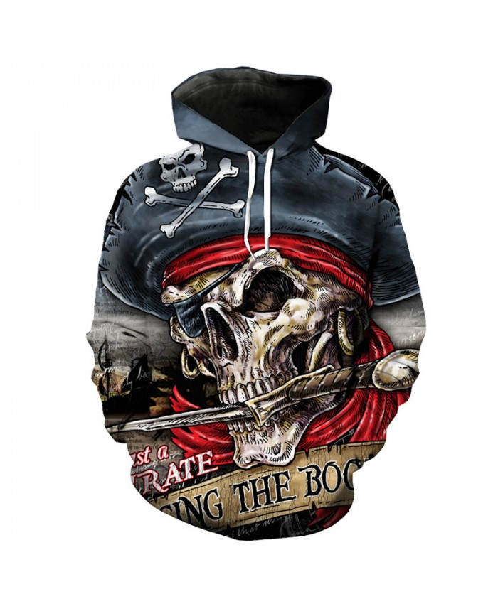 Pirate Skull Ship Captain Print Fashion Hip-Hop Hooded Sweatshirt Cool Street Sportswear Tracksuit Pullover Hooded Sweatshirt
