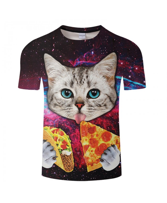 Pizza&Galaxy&cat 3D Print t shirt Men Women tshirts Summer Funny Short Sleeve O-neck Tops&Tees Hot 2018 Drop Ship