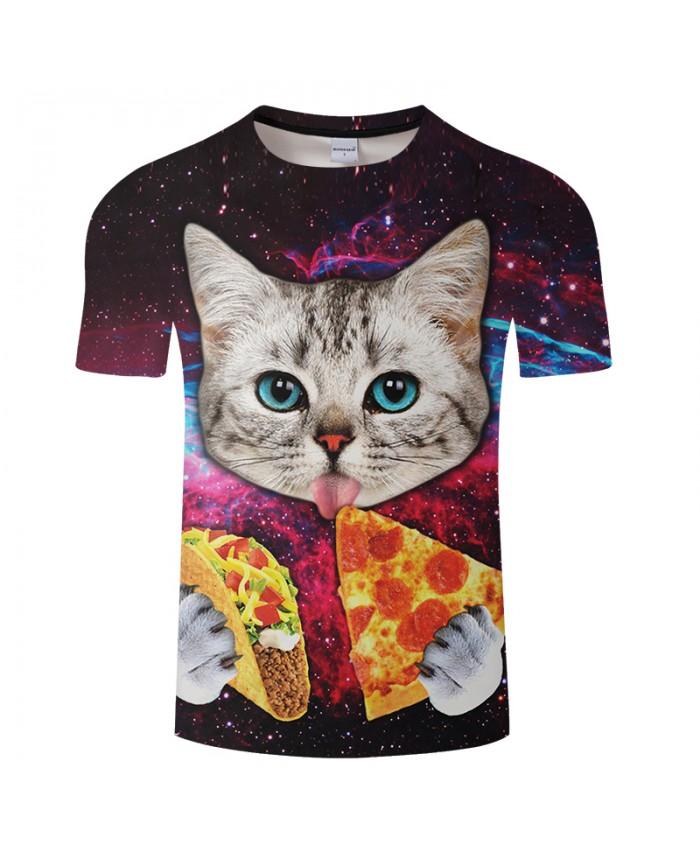 Pizza&Galaxy&cat 3D Print t shirt Men Women tshirts Summer Funny Short Sleeve O-neck Tops&Tees Hot 2018 Drop Ship