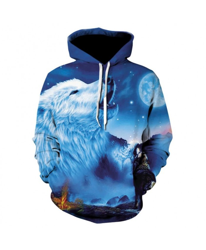 Plus Size Howling wolf Hoodies Hip Hop Unisex Hoody Sweatshirt 3d Animal Print Tracksuit Pullover With Big Pockets