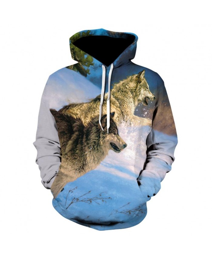 Plus Size Two wolves in the snow Hoodies Hip Hop Unisex Hoody Sweatshirt 3d Animal Print Tracksuit Pullover With Big Pockets