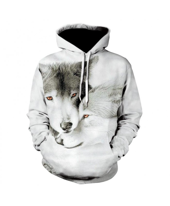 Plus Size Wolf Hoodies Hip Hop Unisex Hoody Sweatshirt 3d Animal Print Tracksuit Pullover With Big Pockets