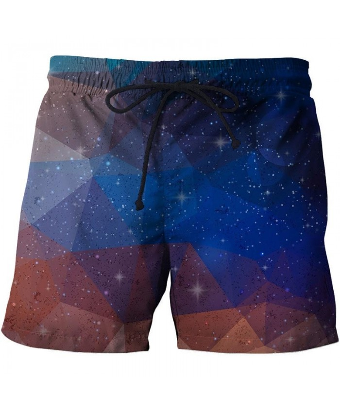 Polygonal Starry Sky 3D Print Men Shorts Casual Cool Elastic Men Stone Printed Beach Shorts Male Fitness Shorts