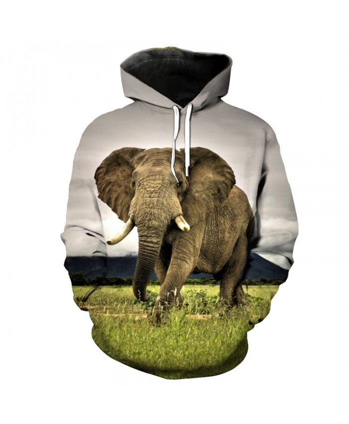 Prairie Elephant Print Hooded Sweatshirt to Protect Animals Casual Tracksuits