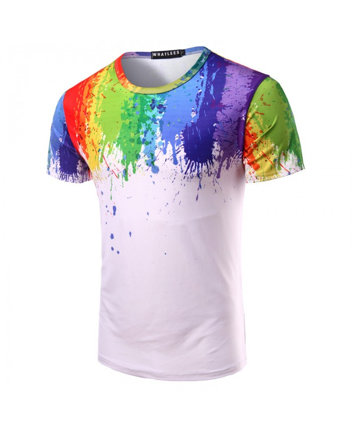 Printed Men Tshirt Splashed Paint T shirt Male Noveltry Streetwear Short Sleeve Skateboard Tee Shirt Fashion 2019