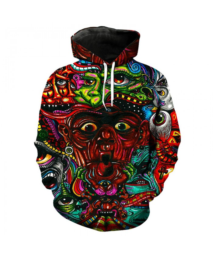 Psychedelic art colorful eye print fashion 3D hooded sweatshirt pullover