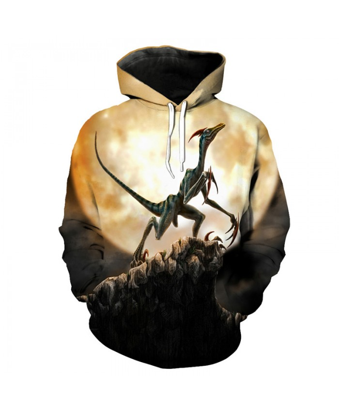 Pterosaur Dinosaur Print Hooded Sweatshirt Autumn Men Women Casual Pullover Sportswear
