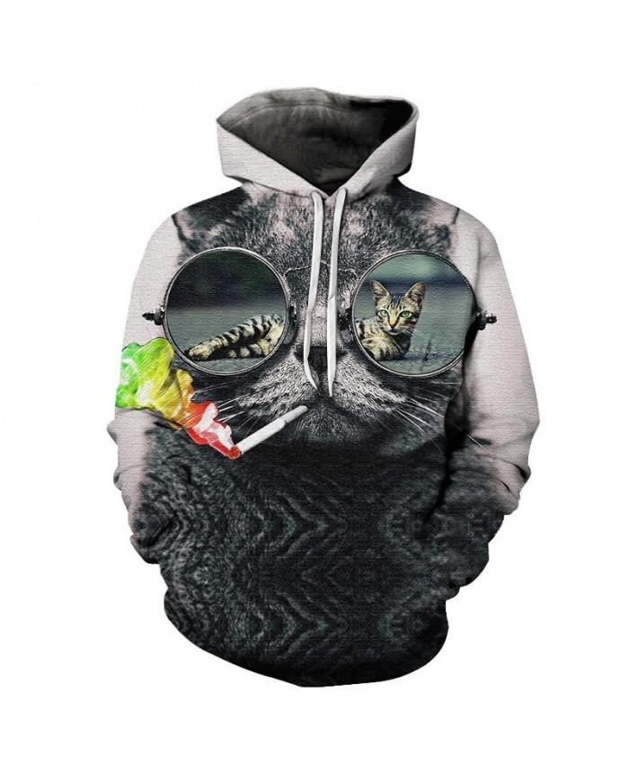 Pumping Colored Smoke Cat 3D Print Mens Pullover Sweatshirt Pullover Casual Hoodie Men Streetwear Sweatshirt Hoodie