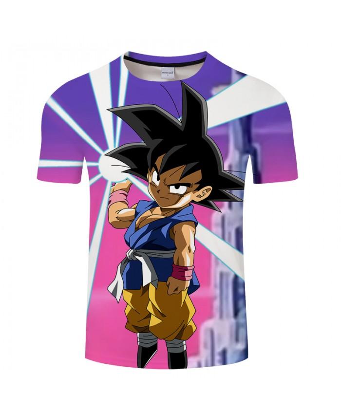 Purple Cartoon 3D Print T shirt Men Summer Short Sleeve Tops&Tees Boy Tshirt Goku Dragon Ball Saiyan Drop Ship