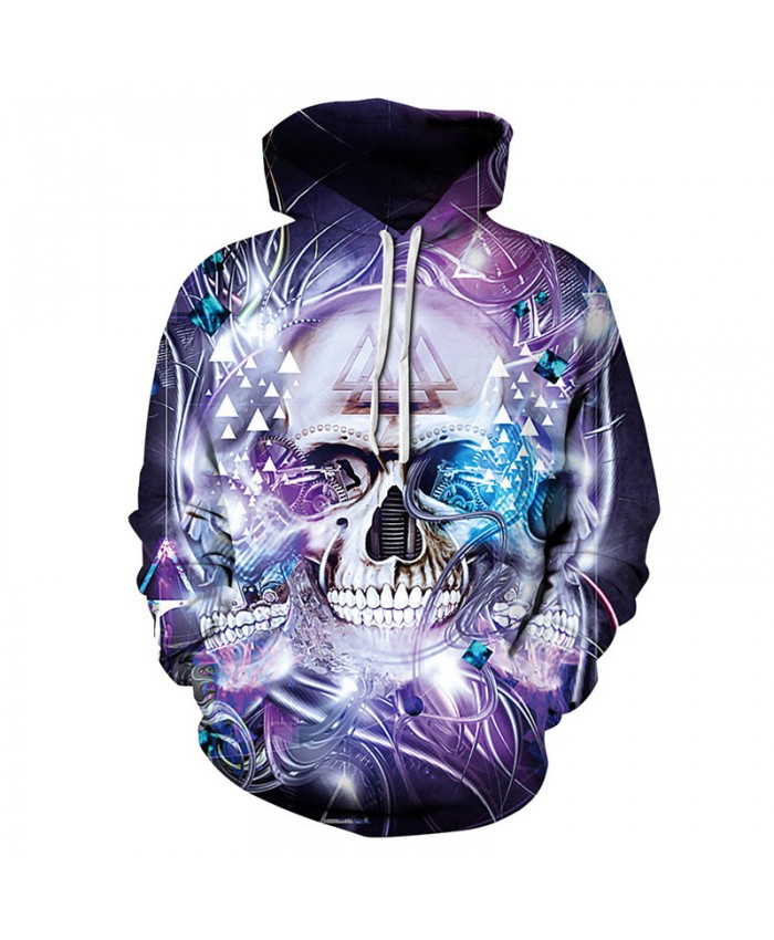 Purple Couple Hoodie Starry skull Print Cool Pullover Hoodie
