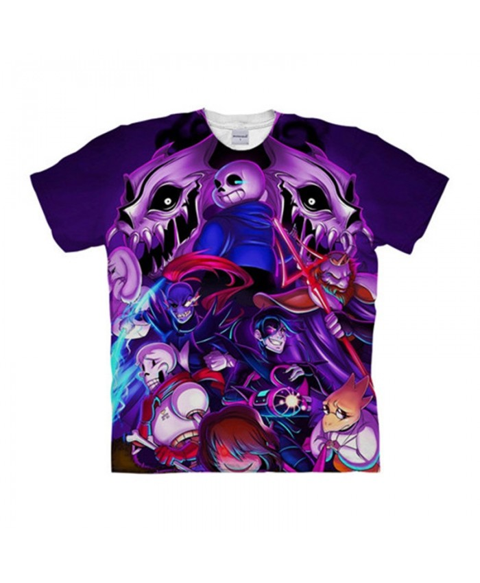 Purple Head Undertale 3D Printed Men Anime tshirt Crossfit Shirt Casual Short Sleeve Male T Shirt Men Brand Tops&Tee