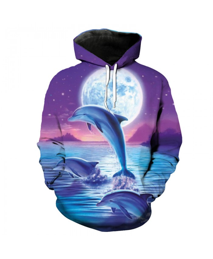 Purple Sky Jumping Dolphin Print Fashion Hooded Pullover Unisex Sportswear Men Women Casual Pullover Sportswear