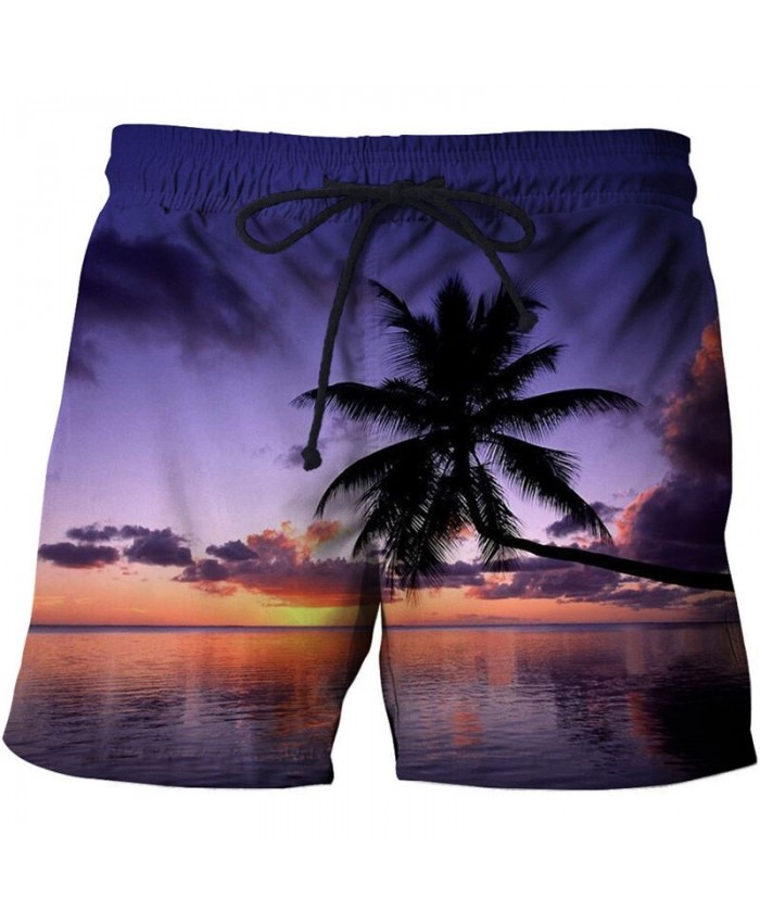 Purple Sky Men Board Shorts 3D Print Men Shorts Casual Summer Cool Men Elastic Waist Male Beach Shorts Drop Ship