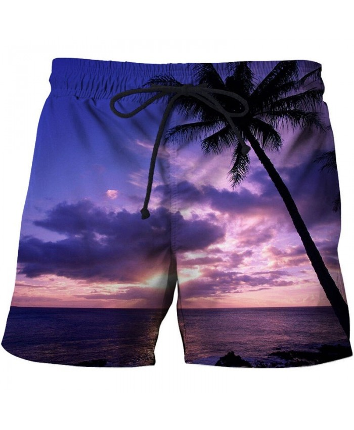 Purple Sunset Men Beach Short 3D Print Men Shorts Casual Summer Cool Men Elastic Waist Male Fitness Shorts Drop Ship