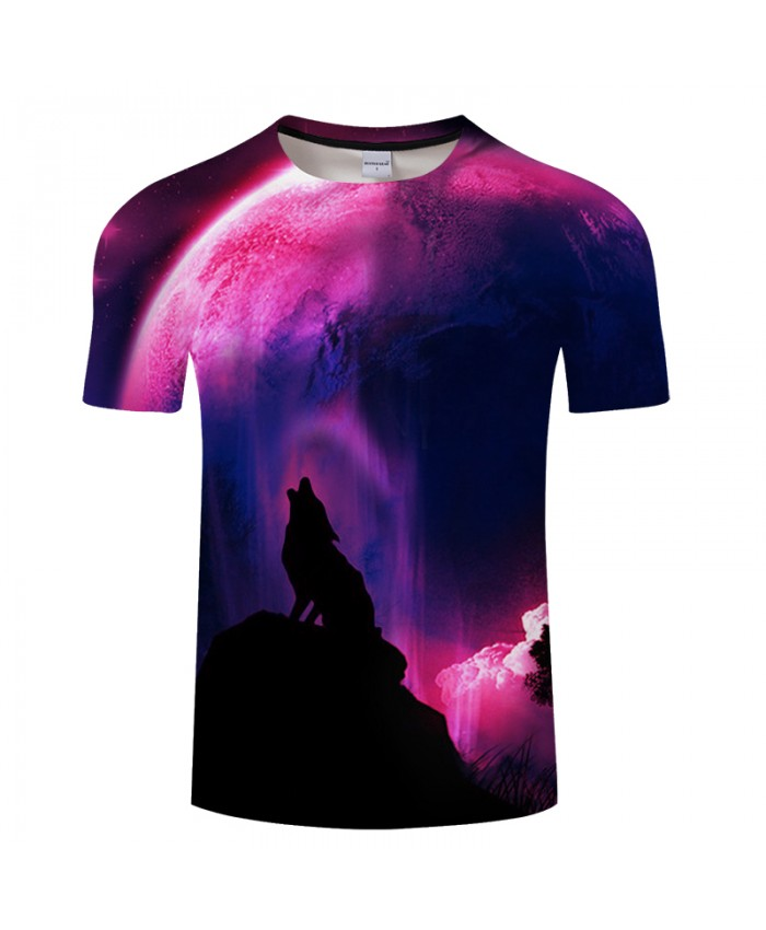 Purple background&Wolf 3D Print t shirt Men Women tshirts Summer Casual Short Sleeve O-neck Hot Tops&Tees Drop Ship