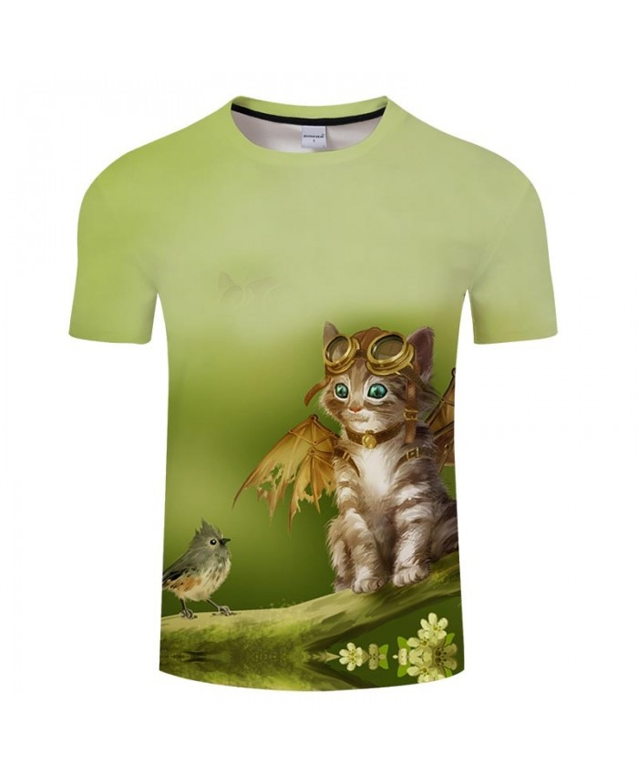 Put On Wings Cat 3D Print Men tshirt Crossfit Shirt Casual Summer Short Sleeve Men Brand T Shirt Men Round Neck