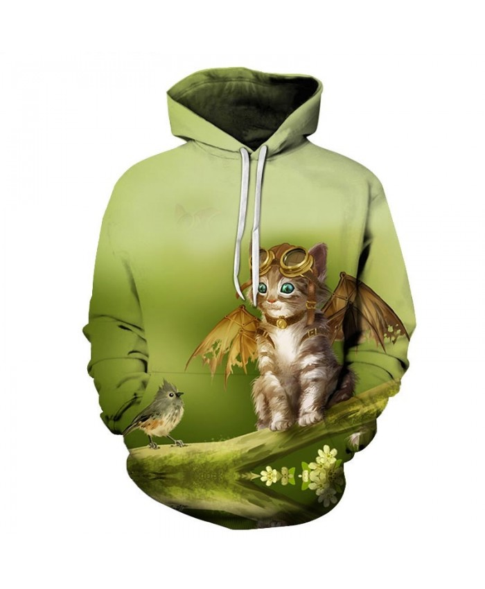 Put On Wings Cat 3D Printed Mens Pullover Sweatshirt Pullover Casual Hoodie Men Streetwear Sweatshirt Hoodie Tops