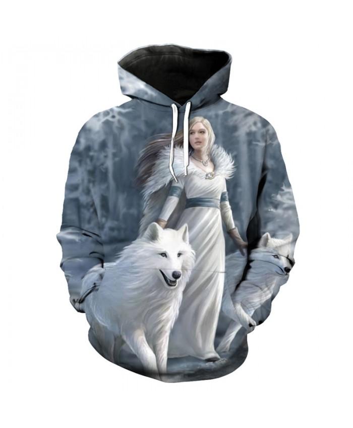 Queen Anne White Wolf Print Fashion 3D Hoodies Fun Sweatshirt Tracksuit Pullover Hooded Sweatshirt