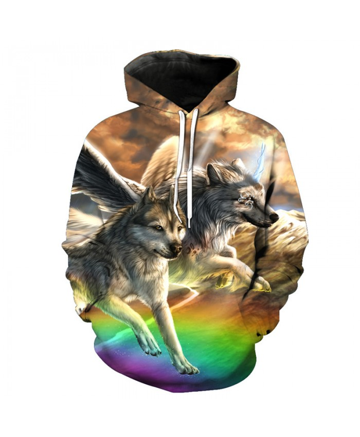 Rainbow Angel Wolf Funny Print Fashion Hooded Sweatshirt Men Women Casual Pullover Sportswear