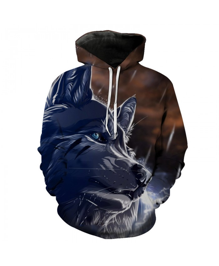 Rainy Night Wolf Hooded Sweatshirt Neutral Hoodies Men Women Casual Pullover Sportswear