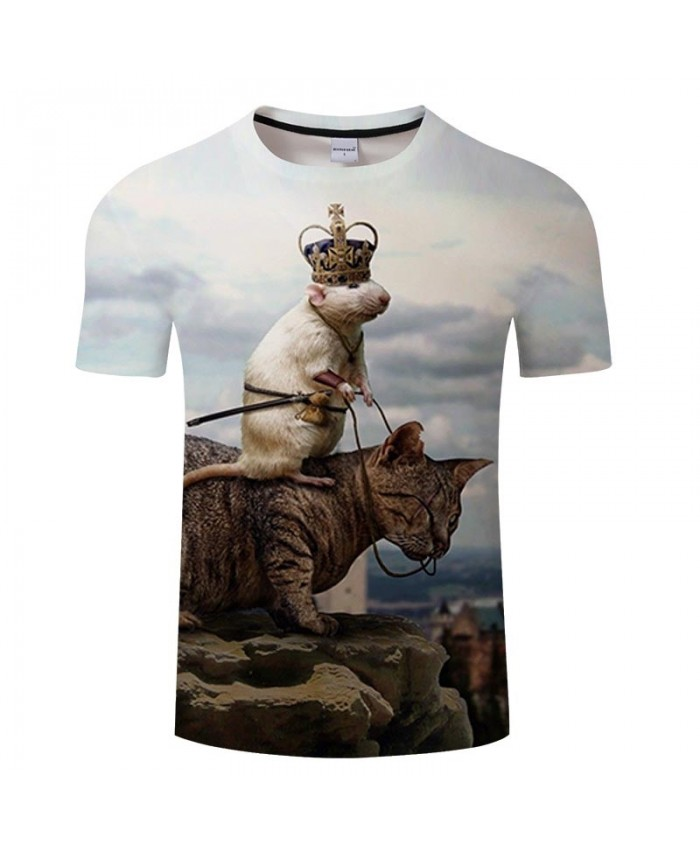 Rat Riding On A Cat 3D Printed Men tshirt Crossfit Shirt Casual Summer Short Sleeve Men Brand T Shirt Men Round Neck