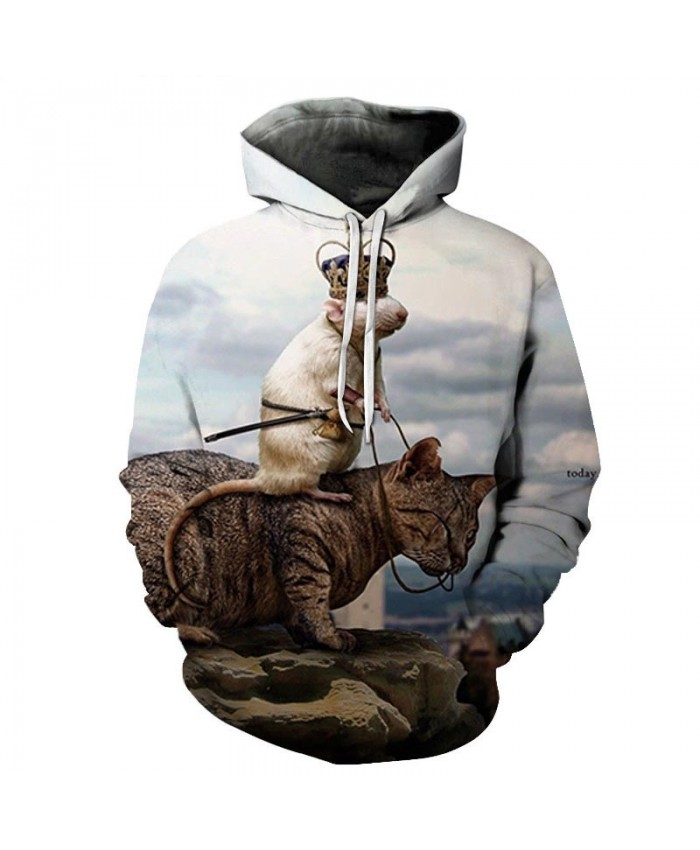Rat Riding On A Cat 3D Printed Mens Pullover Sweatshirt Pullover Casual Hoodie Men Streetwear Sweatshirt Hoodie 2021