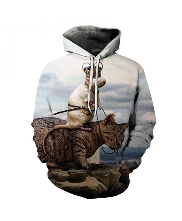 Rat Riding On A Cat 3D Printed Mens Pullover Sweatshirt Pullover Casual Hoodie Men Streetwear Sweatshirt Hoodie 2019