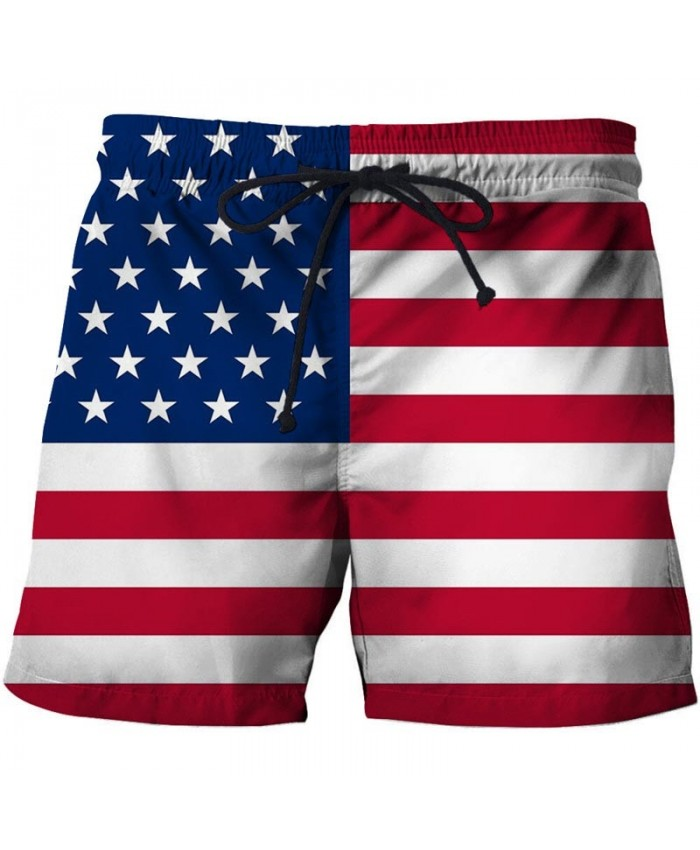 Red And White Horizontal Bars Men 3D Printed Beach Shorts USA Flag Male Quick Dry Breathable Watersport Board Shorts