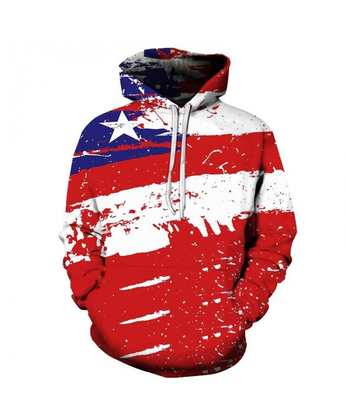 Red And White Splash 3D Printed Pullover Sweatshirt Pullover Hoodie Casual Hoodie USA Flag Hoodie Fashion Casual
