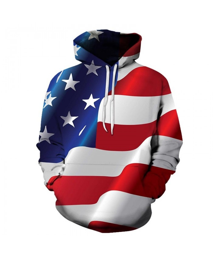 Red And White Wide Strip 3D Printed Pullover Sweatshirt Pullover Hoodie USA Flag Hoodie Fashion Men Hoodie Fashion