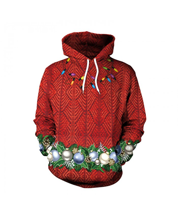 Red Christmas Wreath Christmas Sweater Unisex Men Women Vacation Santa Elf Pullover Funny Sweaters Tops Autumn Winter Clothing
