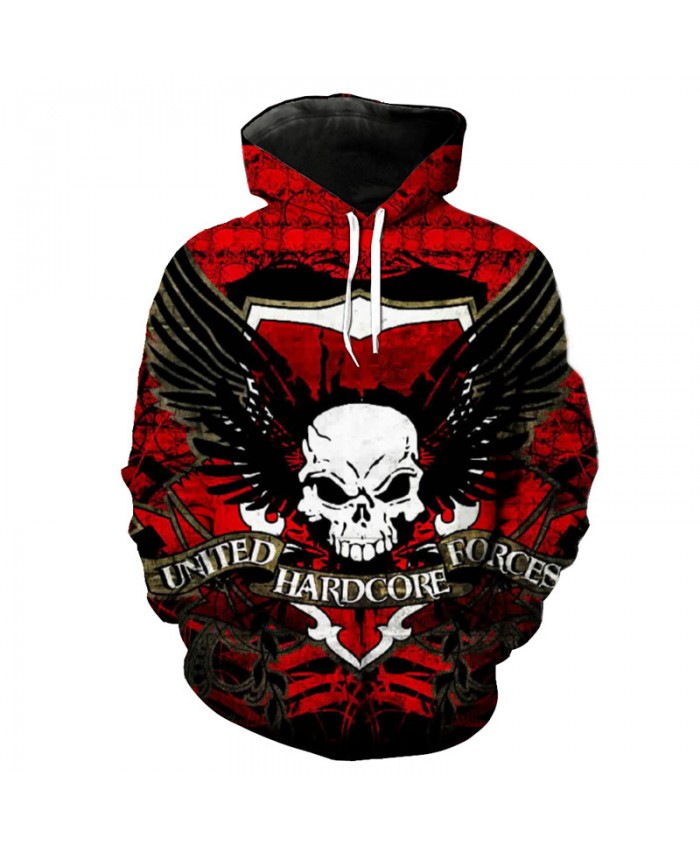 Red Men's Sweatshirt Angel Wings Skull Printing Fashion Hooded New Arrive Pullover Tracksuit Pullover Hooded Sweatshirt