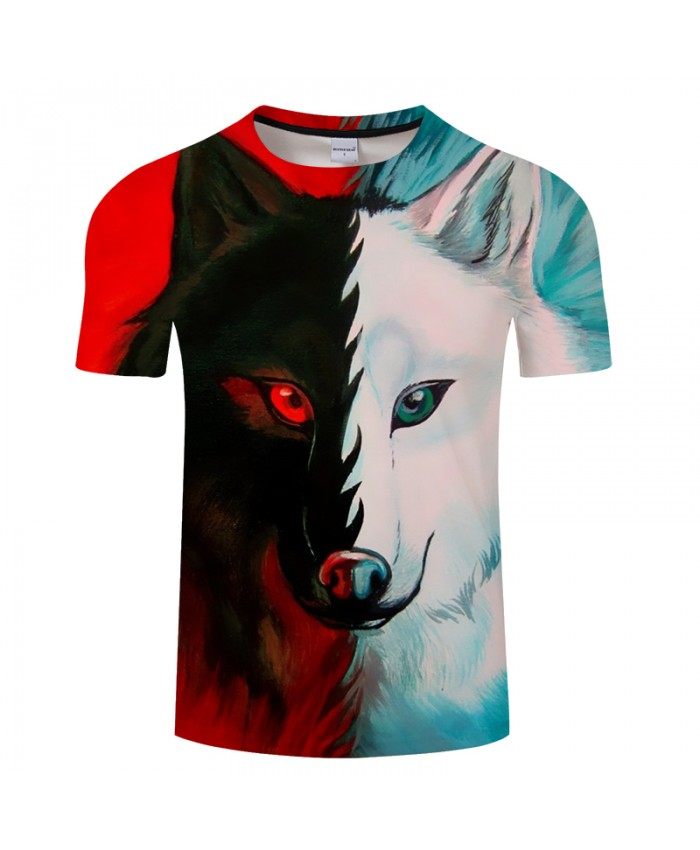 Red and White Wolf Print Tshirt O-neck Short Sleeve Men's t-shirts 2018 Summer Camisetas Tees Drop Ship