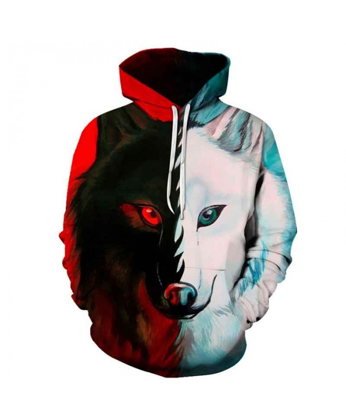 Red and white Double Sided wolf printing Fashion hoodies sweatshirt autumn sportswear pullover Men Women Casual Pullover Sportswear