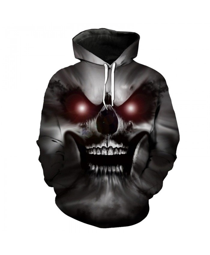 Red-eyed Horror Demon Skull Print 3D Hooded Pullover Halloween Style Fashion Sweatshirt Tracksuit Pullover Hooded Sweatshirt