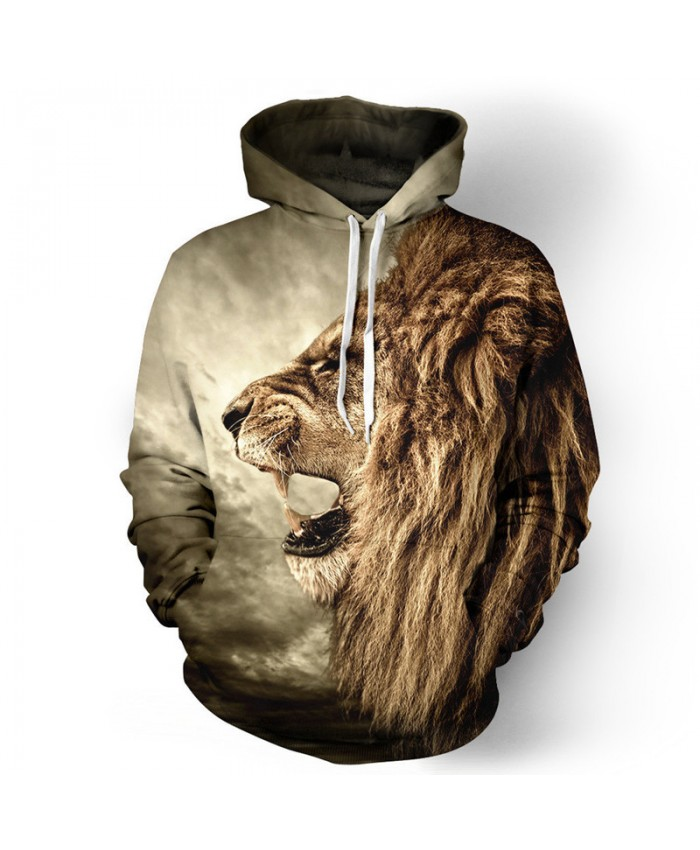Roar African Lion Print 3D Hooded Sweatshirt Casual Hoodies Casual Hoodie Autumn Tracksuit Pullover Hooded Sweatshirt
