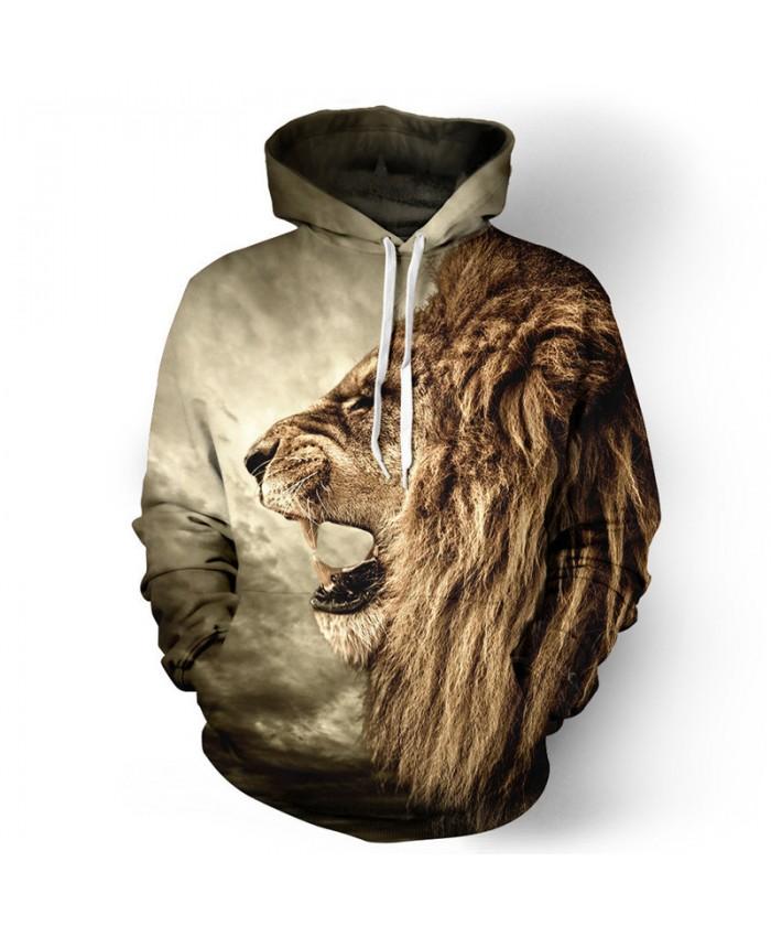 Roar African Lion Print 3D Hooded Sweatshirt Casual Hoodies Casual Hoodie Autumn Tracksuit Pullover Hooded Sweatshirt
