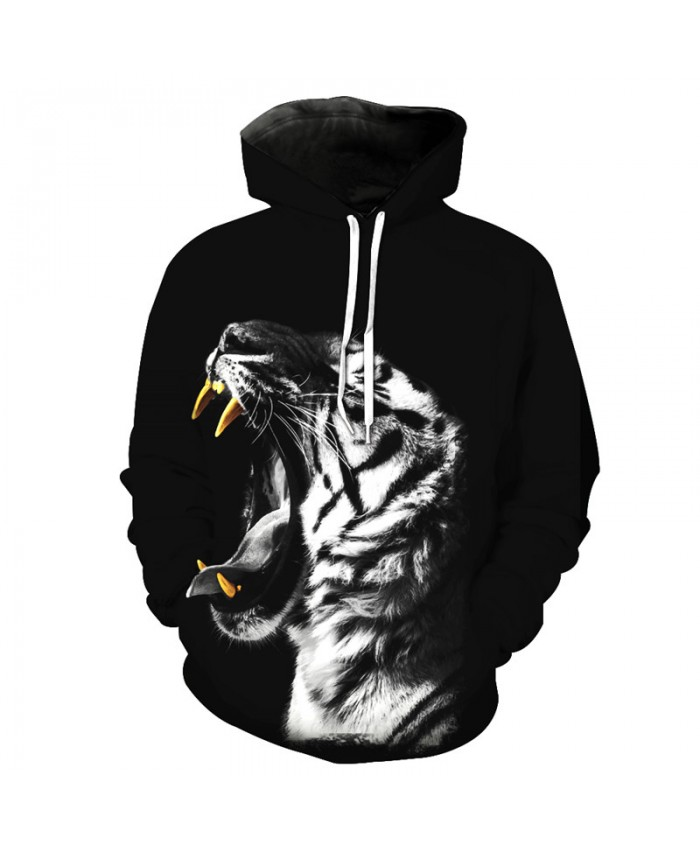 Roar White Tiger Hooded Sweatshirts Casual Hoodie Autumn Tracksuit Pullover Hooded Sweatshirt