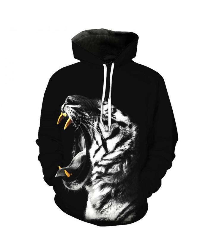 Roar White Tiger Hooded Sweatshirts Casual Hoodie Autumn Tracksuit Pullover Hooded Sweatshirt