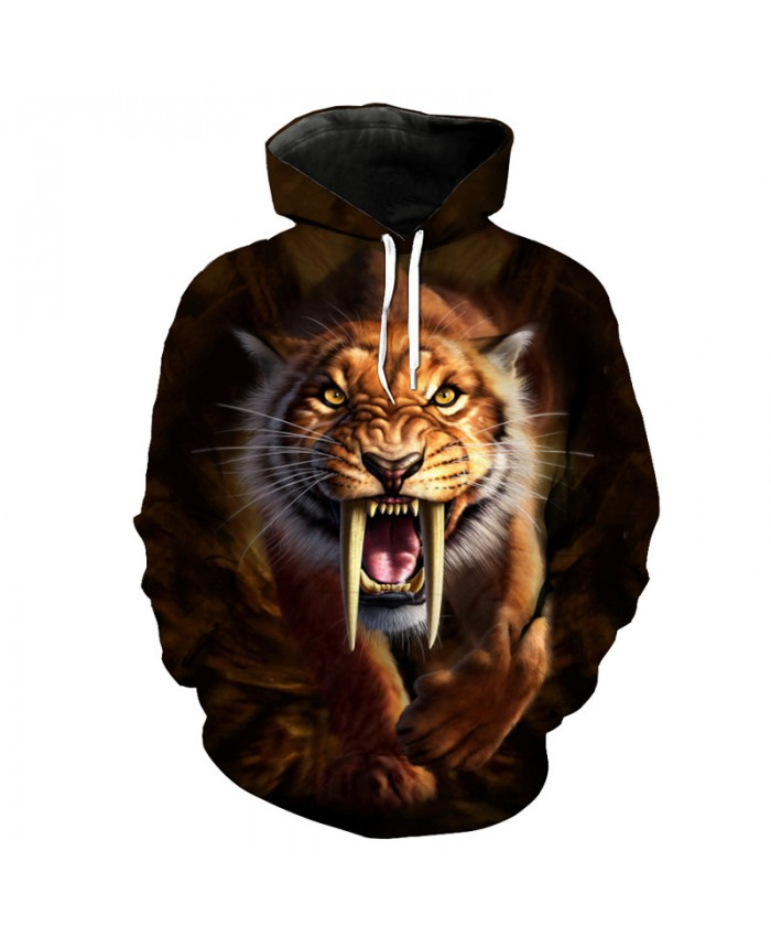 Roaring Saber-toothed Tiger Print Fashion Hoodie Streetwear Fun Pullover Sportswear Casual Hoodie Autumn Tracksuit Pullover Hooded Sweatshirt