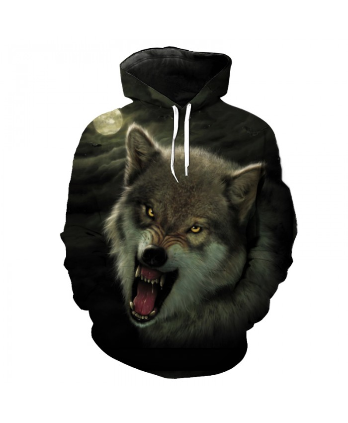 Roaring Wolf Gray Clouds Fashion Hooded Sweatshirt Casual Pullovers Tracksuit Pullover Hooded Sweatshirt