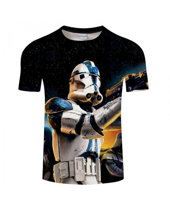 Robot Gun Star Wars 3D Print T Shirt Men tshirt Summer Casual Slim tshirt Short Sleeve O-neck Tops&Tee Drop Ship