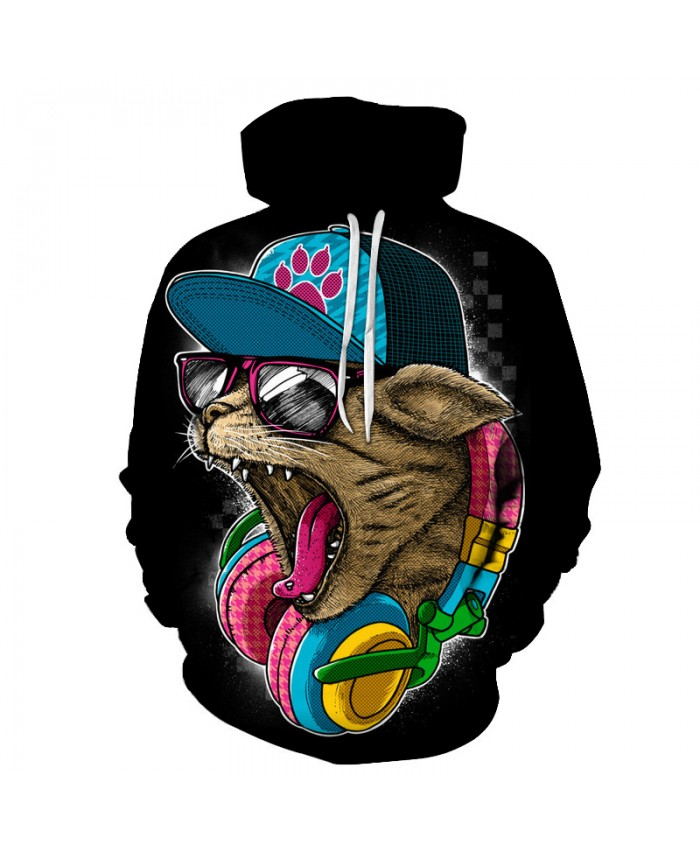 Rock Cat 3D Sweatshirts Men/Women Hoodies With Hat Print Fashion Autumn Winter Loose Thin Hooded Hoody Tops