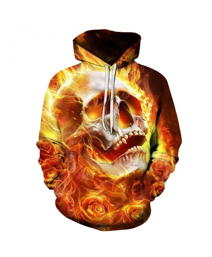 Rose Fire Skull Print Mens Hoodie Autumn Winter Sweatshirts 2019 Men Clothing Tracksuit Streetwear Drop Ship