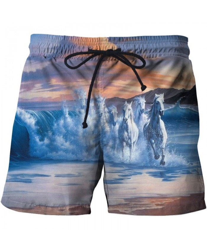 Running White Horse Men Board Shorts 3D Print Men Shorts Casual Summer Cool Men Elastic Waist Male Shorts Drop Ship